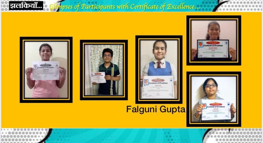 Falguni Gupta of class VIII of Maharani Gayatri Devi Girls' School, Jaipur won All India 1st prize in a   NATIONAL LEVEL ONLINE SLOGAN COMPETITION