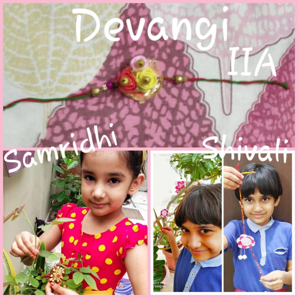 Class 2 A made pretty rakhis at home