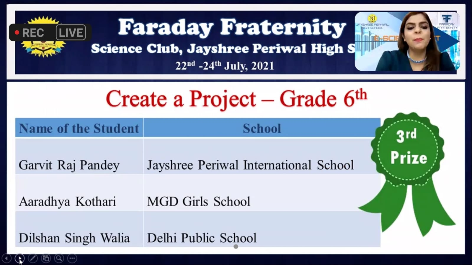 MGD Girls' School Jaipur  participated in the E- SCIENCE FEST 2021