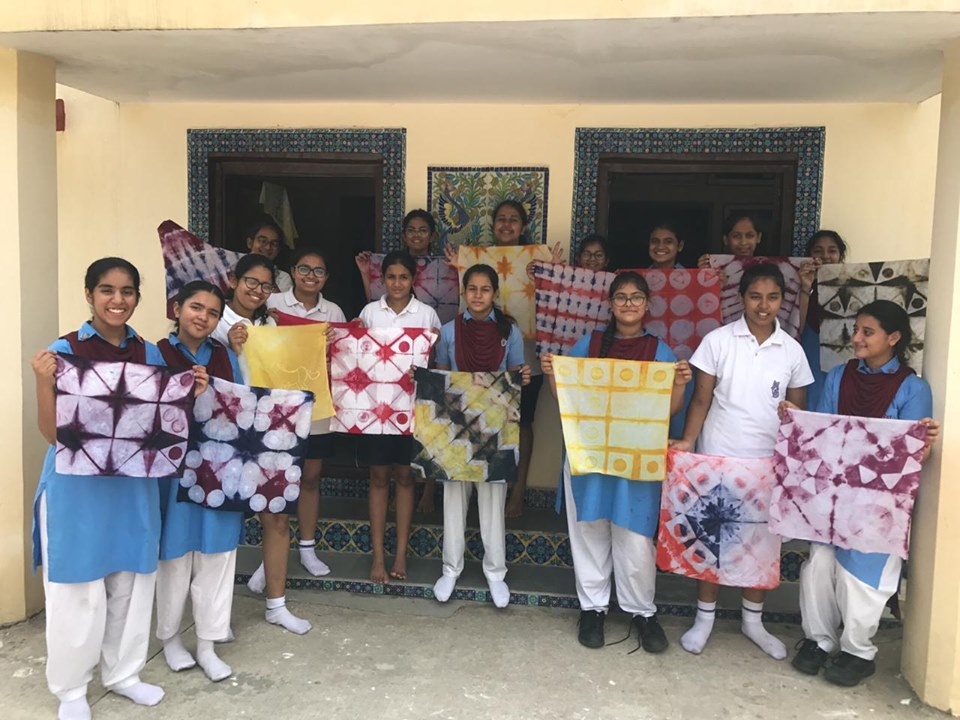 Workshop organized by Pearl Academy, Jaipur for batik, clamp dye and cloth marbling.
