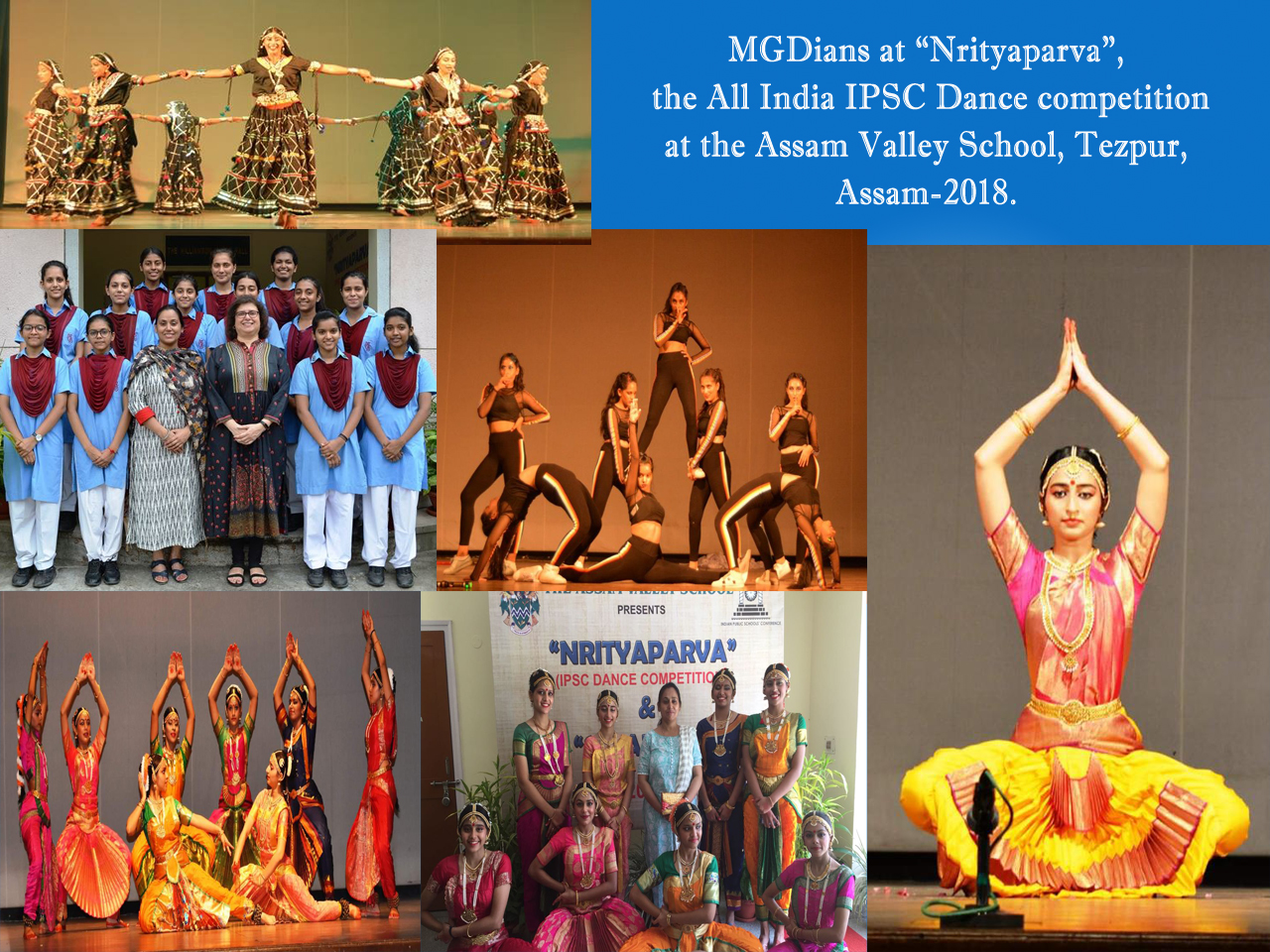 """MGDians at """"Nrityaparva"""", the All India IPSC Dance competition at the Assam Valley School, Tezpur, Assam-2018."""