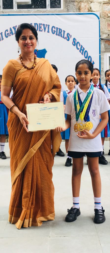 Swasti Khangarot of grade 4 won 4 gold medals in skating competition held in Hongkong in 2017 and in Thailand in 2018.
